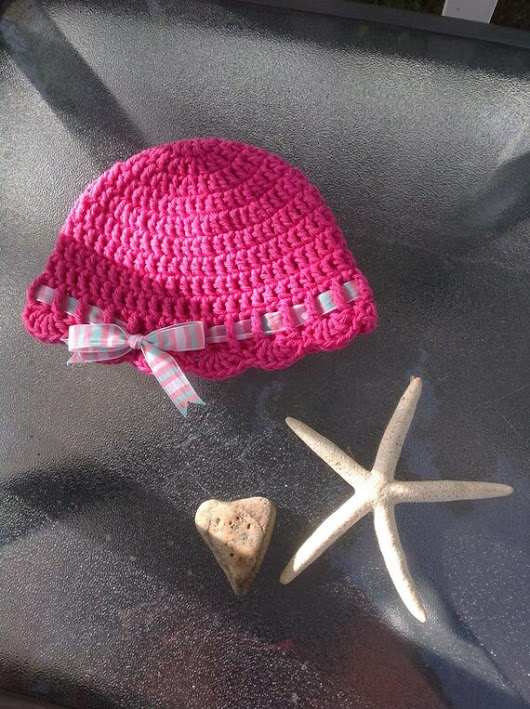 Bright Pink  100% Cotton Baby Sunhat Size 3-6 months