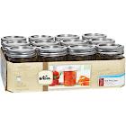 Kerr Half-Pint Glass Mason Jar w/Lid & Band, Clear, 8 oz - 12 pack