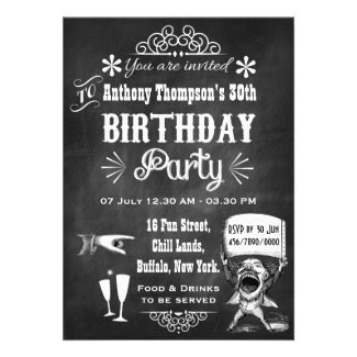 Personalized Chalkboard Birthday Party Invitation