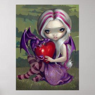 Valentine Dragon gothic fairy Art Print print