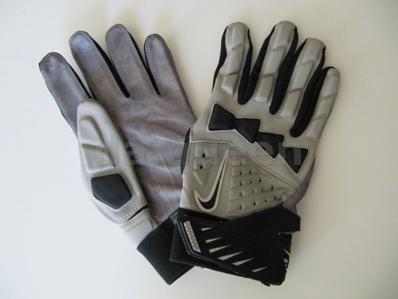 Mens NIKE HYPER BEAST Leather LINEMAN Football Gloves NFL Gray Black MANY SIZES  eBay