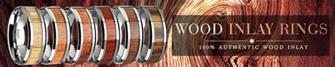wood rings wood inlay rings  wedding bands