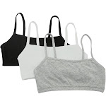 Fruit Of The Loom Spaghetti Strap Short Bra - 3 Pack, White/Black/Grey (9036)