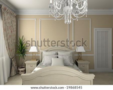 Classic Design Interior Of Bedroom. 3d Render Stock Pho