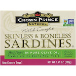Crown Prince Skinless And Boneless Sardines In Pure Olive Oil - Case Of 12 - 3.75 Oz.