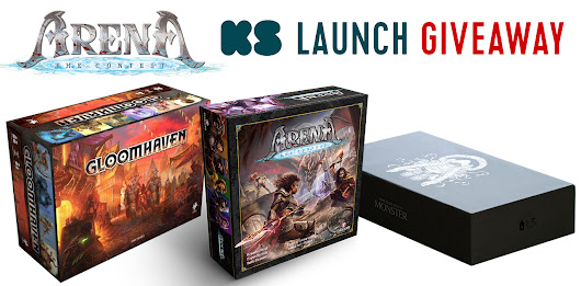 Win a copy of Gloomhaven, Kingdom Death Monster 1.5, and, when funded, Arena: the Contest