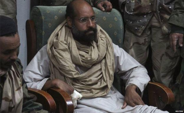 Saif al-Islam is seen after his capture, in the custody of revolutionary fighters in Obari, Libya 19 November 2011.