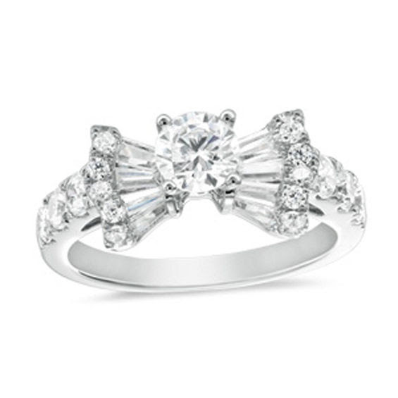 1 12 Ct Tw Diamond Bow Tie Engagement Ring In 14k White Gold