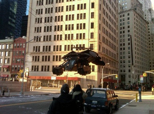The Batwing is filmed for THE DARK KNIGHT RISES in New York City on October 30, 2011.