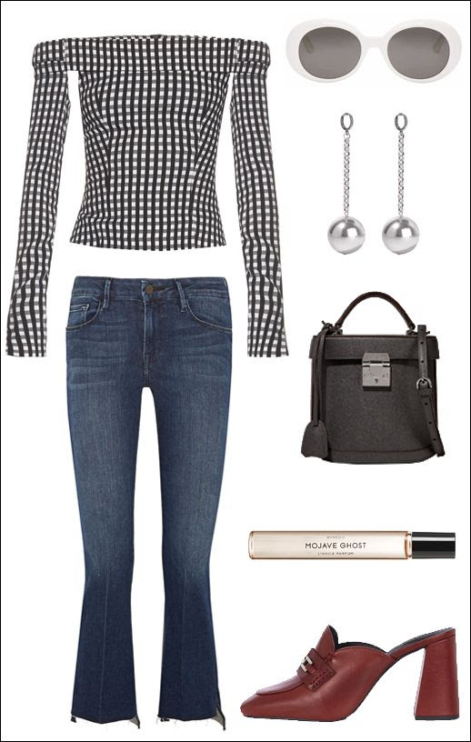 Le Fashion Blog How To Wear Gingham For Fall Off The Shoulder Top Saint Laurent White Sunglasses Drop Earrings Cropped Frame Jeans Mark Cross Bag Topshop Red Loafer Mules
