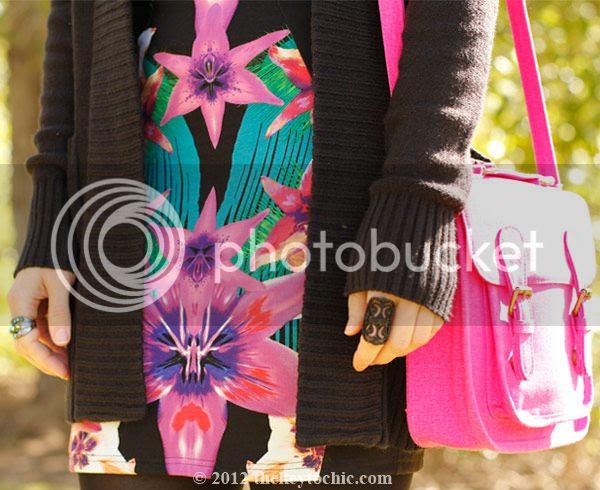 Lipsy tropical dress, Marni at H&M sunglasses, pink neon Xhilaration handbag, southern California fashion, Los Angeles style