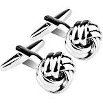 Men's Zodaca Silver Men's Cufflinks Knot Twist Cuff Links Mens Cufflinks
