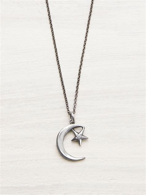 Moon & Star Diamond Necklace   LUNESSA