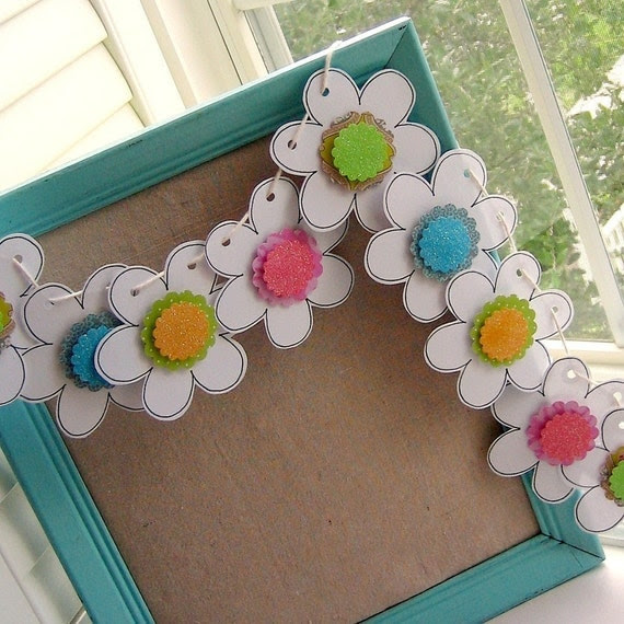 Paper Flower Bunting - Garland - Pennant Decoration - Whimsy Bloom Doodle, No. 1