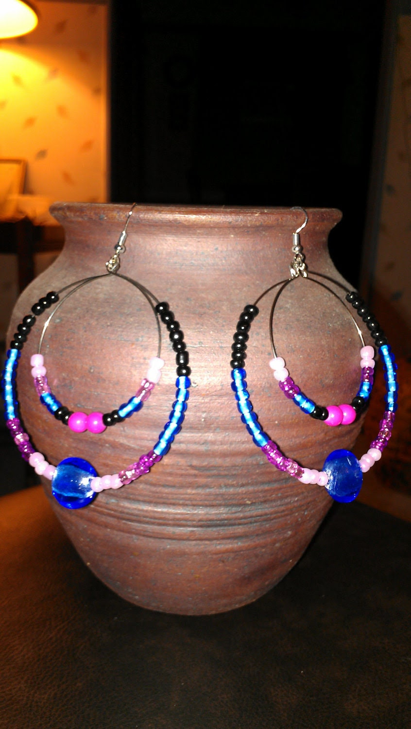 "Electric Blue, Pink, Fuchsia, and Black Double Hoop Earrings: ""Glam Slam"""