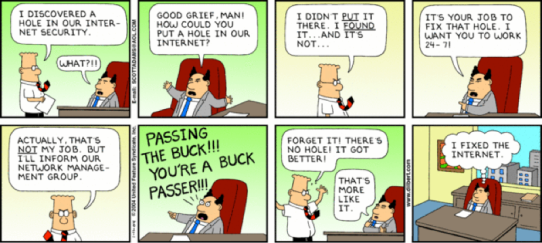 System administrators are indispensable to managers (Source: http://dilbert.com/strips/comic/2004-01-11/)