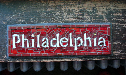 Philadelphia Mosaic Sign on Slate