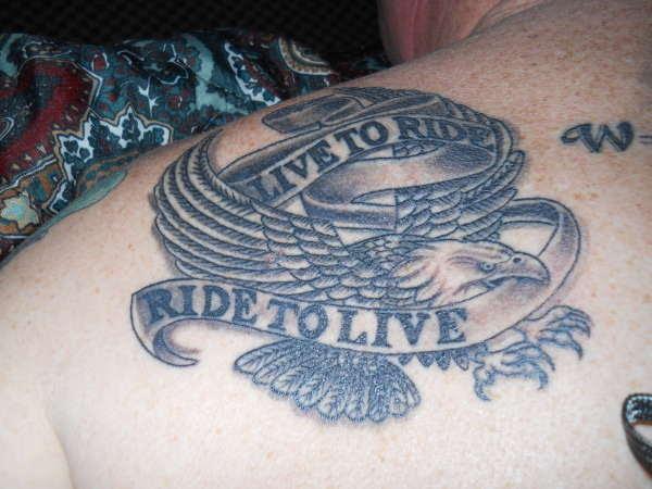 Live To Ride Eagle Tattoo