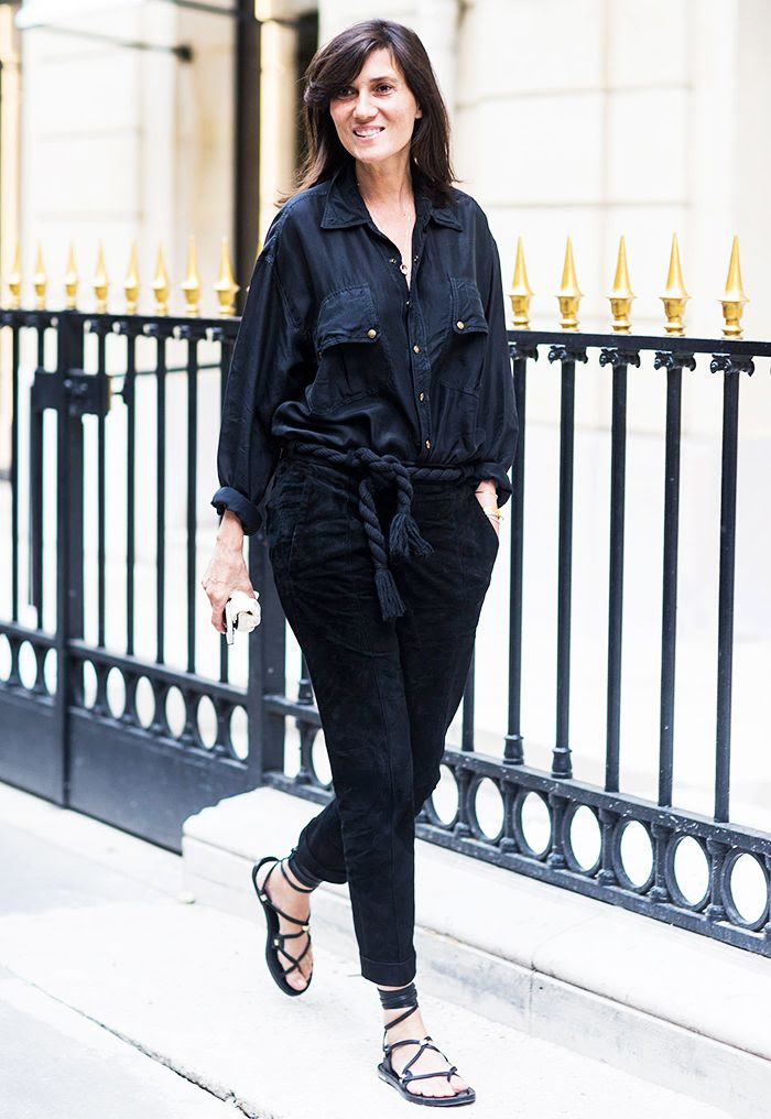 Le Fashion Blog Emmanuelle Alt Street Style Summer To Fall Transition Washed Silk Utility Shirt Rope Belt Cropped Pants Via A Love Is Blind
