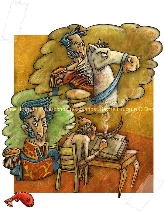 Ilustración de Simón rodriguez por hache holguin