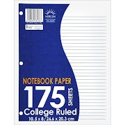 """Norcom Filler Paper, College Ruled, 175pgs, 10.5"""" x 8.5"""", Light Off-White"""