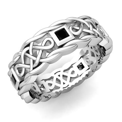 Mens Black Diamond Ring in Platinum Celtic Wedding Band My
