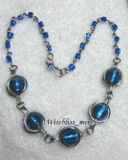 Wire wrap twice around the world necklace