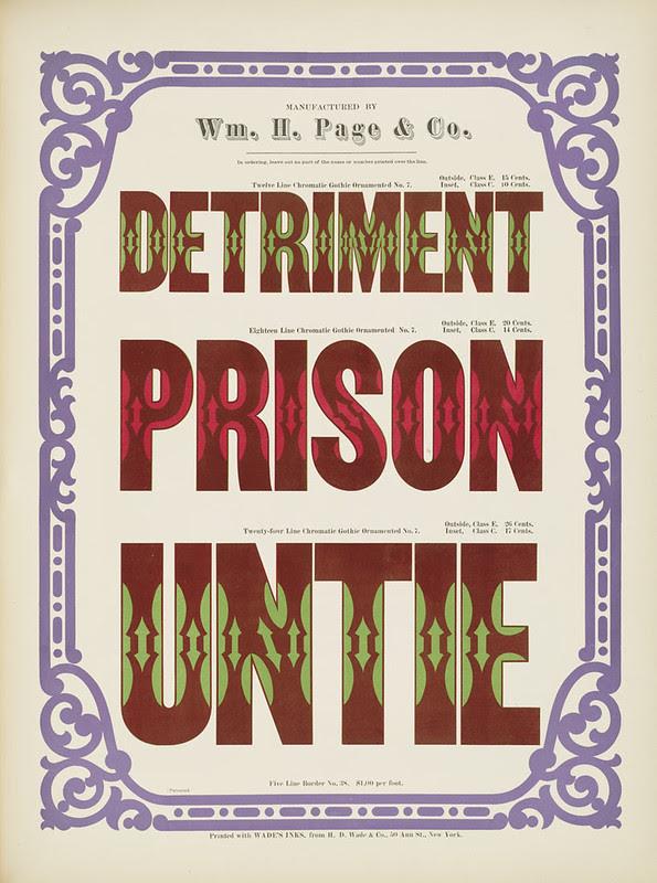 Specimens of chromatic wood type, borders 1874 - [via Columbia U] (Detriment + Prison + Unite) Gothic ornamented type