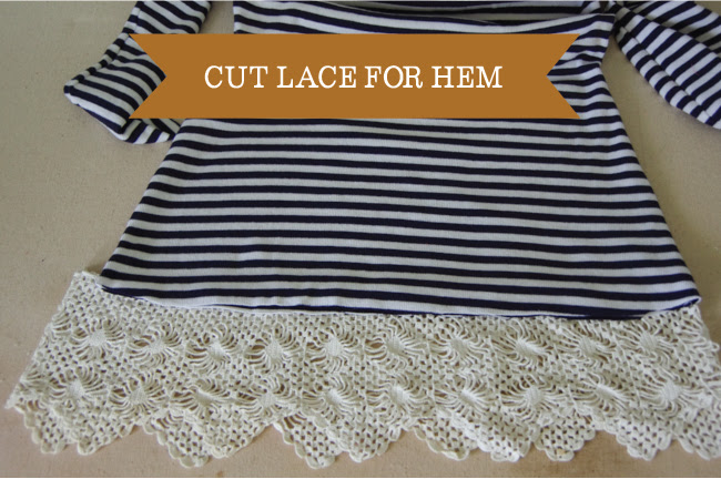 Embellish - cut lace for hem