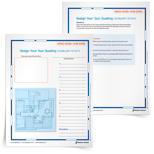 Design Your Own Dwelling Vocabulary Activity, Grades 2–12