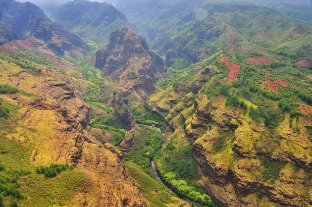 Arial view of the Waimea Canyon