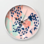 Kala - Abstract Painting Minimal Coral Mint Navy Color Palette Boho Hipster Decor Nursery Wall Clock by Charlottewinter - White - Black