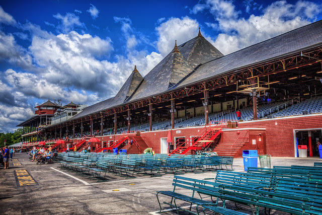 The Grand Stand at the Saratoga Racetrack