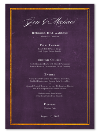 Golden Frame Wedding Menu