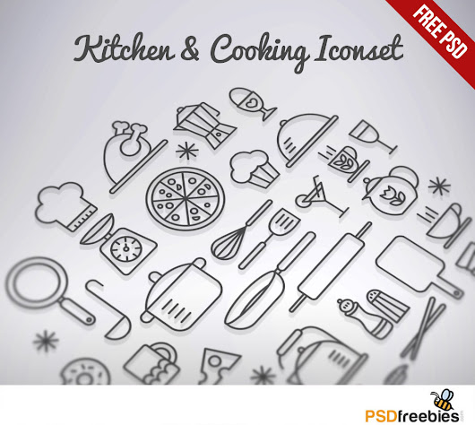 Kitchen & Cooking Outline Iconset Free PSD - PSDFreebies.com