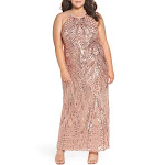 Morgan & Co. Womens Plus Mesh Sequined Formal Dress Pink 14W