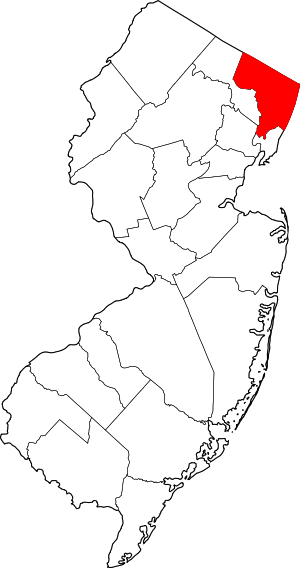 Map of New Jersey highlighting Bergen County