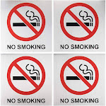 No Smoking Signs - 4-Pack Metal No Smoking Square Aluminum Signs, Self-Adhesive, Ideal for Public Spaces, Coffee Shops, Restaurants, Indoors and