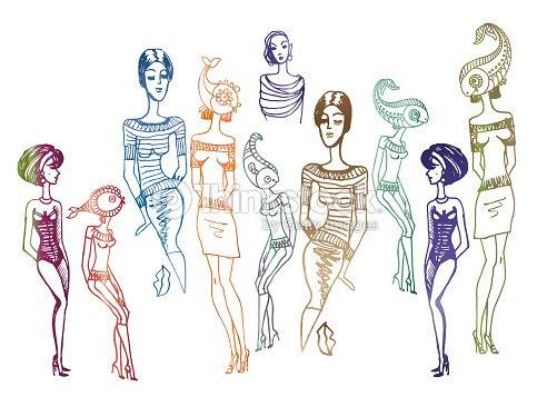 Conjunto De Vector De Mano Mujer Dibujado Siluetas Aisladas Sobre Un