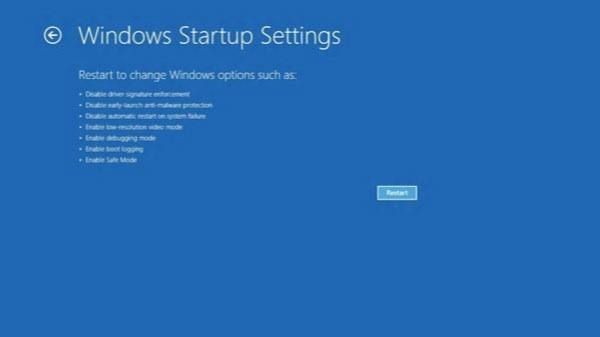 windows startup settings on Windows 8