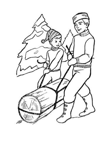 Dibujo De Padre E Hijo Llevando Un Tronco Para Colorear Dibujos