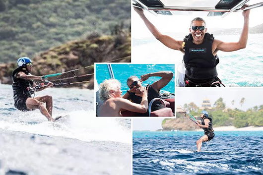 Incredible photos emerge of former president Barack Obama learning to kite surf