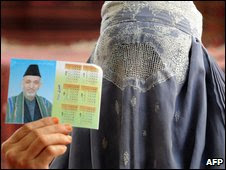Female supporter of Hamid Karzai shows his picture at an election gathering in Kandahar on 16 August 2009