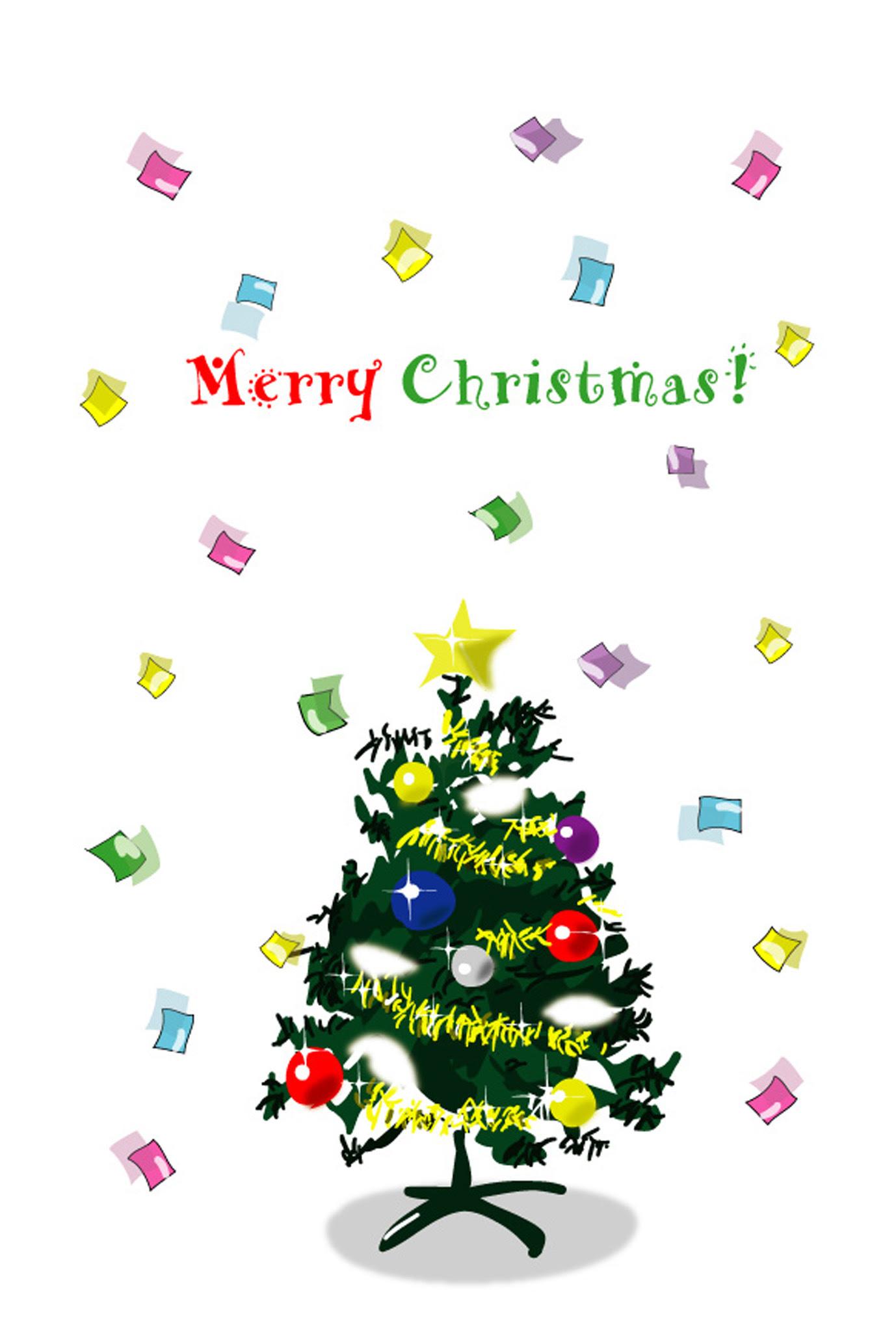 印刷素材 クリスマスカードテンプレートクリスマスツリー3