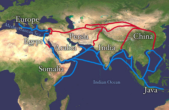 Map of Silk Road routes