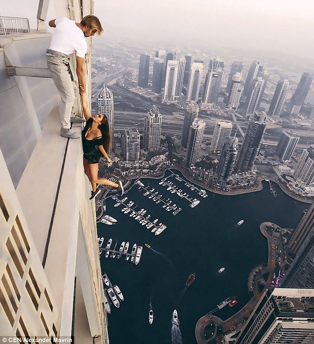 Viki Odintcova posed for the death-defying photoshoot on top of one of the world's tallest skyscrapers