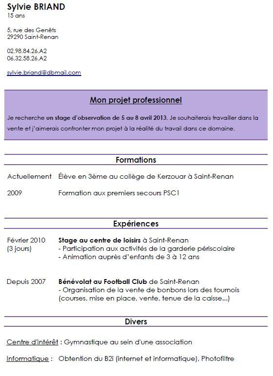 Exemple De Cv Pour Adolescent De 15 Ans