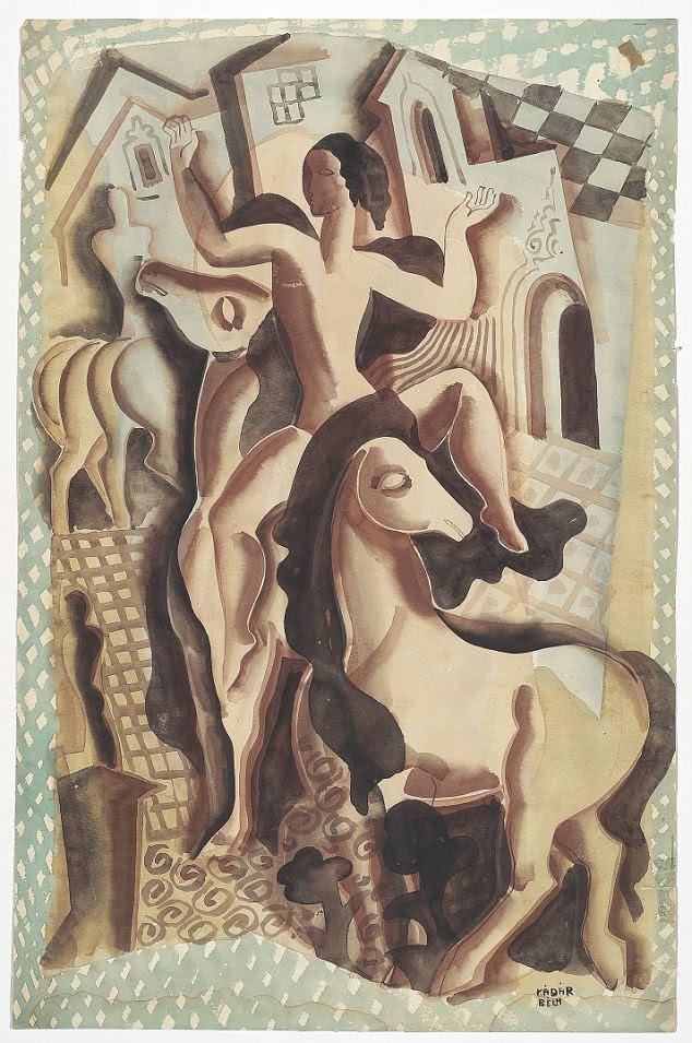 Figuras Béla Kadar com cavalos, pintadas no final de 1930 ou 1940.  Estimativa £ 2.500 a £ 3.500
