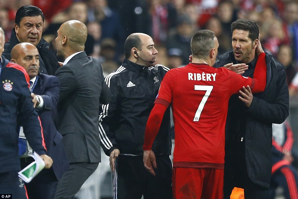 Ribery and Diego Simeone squared up on the touchline as tempers began to flare at the Allianz Arena on Tuesday