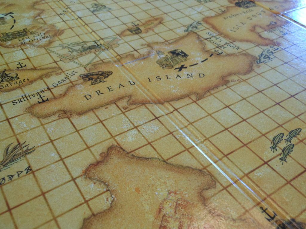 The treasure map game board from the Dread Pirate: Buccaneer's Revenge board game.